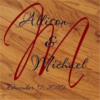 Vinyl Lettering Wedding Dance Floor Monogram Art