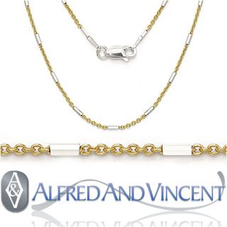 14k Yellow Gold Bead Cable Chain Necklace 16 18 20 22 Inch