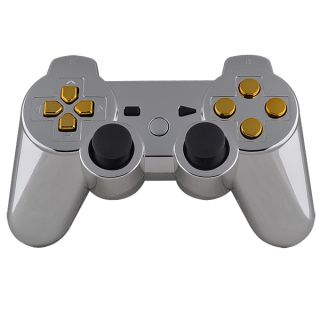 Hot Chrome Silver Custom Shell for PS3 Controller with Gold Buttons