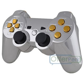 New Chrome Silver Custom Shell Case for PS3 Controller with Gold