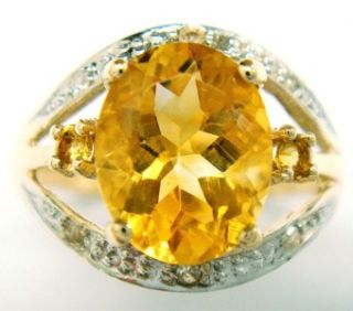 FINE 10KT YELLOW GOLD OVAL CUT CITRINE & DIAMOND RING SIZE 7