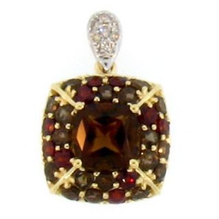 14k Genuine Smoky Quartz Garnet Diamond Pendant