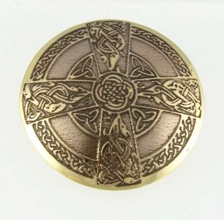 Hand Etched Brass Celtic Cross Brooch Irish Large