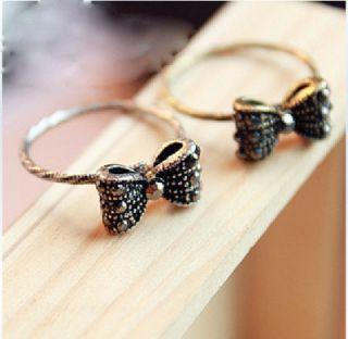 Korean Fashion Retro Vintage Rhinestone Bowknot Ring Rings Cute