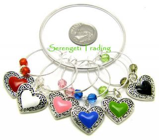 Hearts Colorful Silver Wine Glass Stem Charms Set of 6