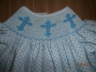 Cross smocked Easter dress w bloomers blue white polka dots NWOT 4T
