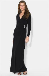 Lauren Ralph Lauren Long Sleeve Surplice Jersey Gown