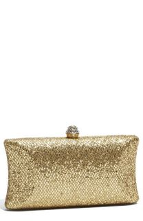 Tasha Glitter Embossed Metal Clutch