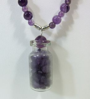 Custom Hand Made Necklace Small Purple Round Beads Glass Jar Charm