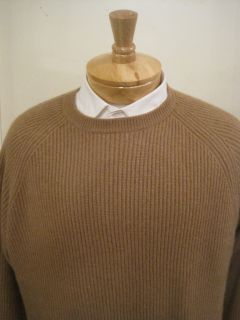 Daniel Cremieux Mens Dark Camel 100 Cashmere V Neck Sweater $225 Large