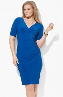 Lauren Ralph Lauren Faux Wrap Jersey Dress (Plus)