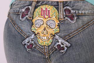 Hart Huntington Tattoo Jeans Skull Keys V Design sizes 26   30