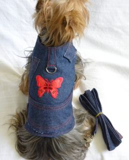 New Dog Cat Clothing Apparel Harness Vest Leash Denim Red Butterfly