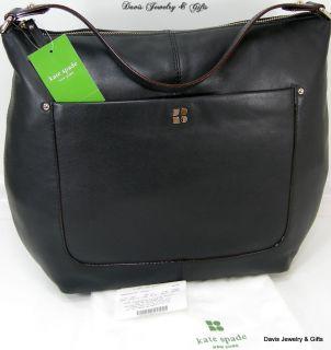 Kate Spade Logo Purse Large Tote Joisan Bag Genuine Leather Black Gold