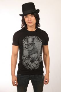 Too Fast Mens Old Crow Black T Shirt Top Hat Crow Design