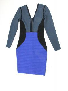 Cut25 womens techno colorblock v neck long sleeve dress $480 New