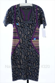 Cut 25 YIGAL AZROUEL s 4 6 Jacquard Knit Dress Leopard Animal Print