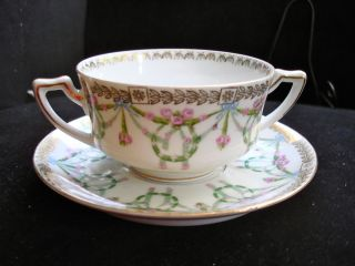 IMPERIAL CROWN CHINA AUSTRIA PINK ROSE BOULLION Soup BOWL CUP