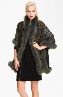 La Fiorentina Genuine Fox Fur Trim Wool Wrap
