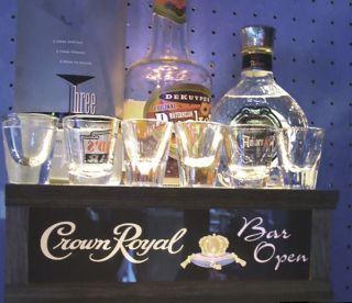 CROWN ROYAL lighted shot glass / LIQUOR BOTTLE display