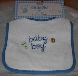 Cutie Pie Terry Cloth Baby Bib W Velcro Closure Baby Boy Feeding Bib