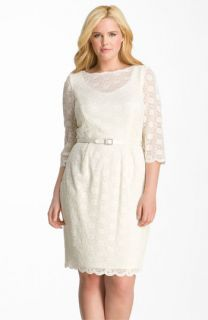 Alex Evenings Belted Lace Sheath Dress (Plus)