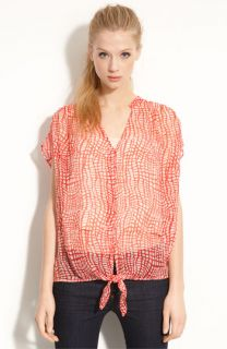 Joie Baxter Dolman Sleeve Tie Front Printed Silk Blouse