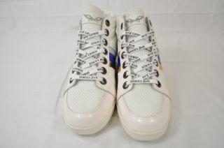 Robins Jean footwear Danton Hi Top Leather White Blue Silver Gold 8