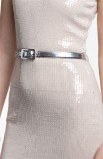 Robert Rodriguez Metallic Leather Skinny Belt