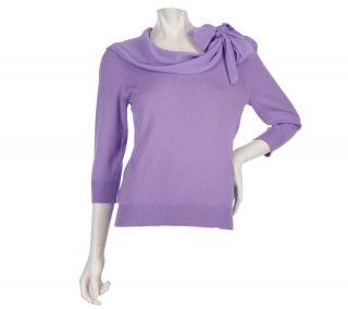Simply. Chloe Dao Scoop Neck Sweater Tie Chiffon Scarf Long Sleeves