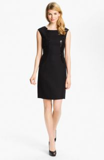Ellen Tracy Sequin Panel Cap Sleeve Sheath Dress