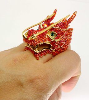Butler Wilson Huge Gold Red Crystal Dragon Ring