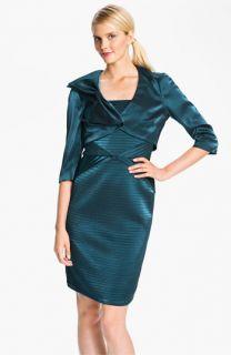 Adrianna Papell Pleated Satin Sheath Dress & Bow Detail Bolero