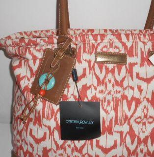 New Cynthia Rowley 17 Weekender Travel Tote Bag Orange Navajo Print