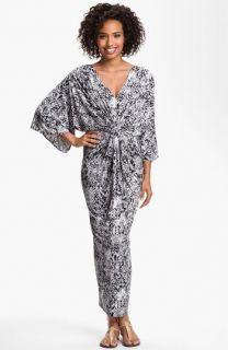 Tbags Los Angeles Print Double V Kimono Maxi Dress