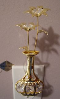 SWAROVSKI CRYSTAL ELEMENTS VASE FLOWER NIGHT LIGHT 24KT GOLD PLATED