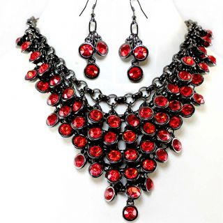Red Crystal Bib Statement Earrings Necklace Set Costume Jewelry