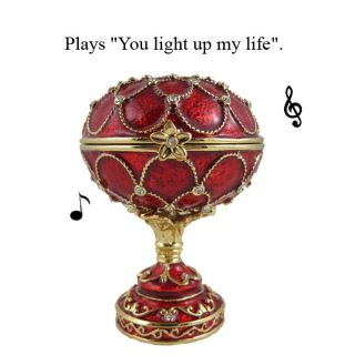 Egg Music Musical Jewelry Crystal Trinket Box Gift Red