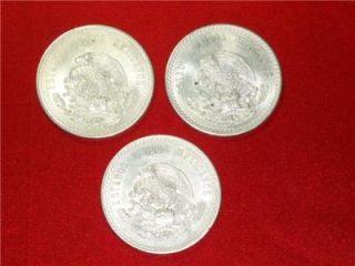 Group of Three 1948 Cuauhtemoc 90 Silver Aztec Cinco Pesos Mexico Mint