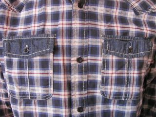 New Buffalo David Bitton Blue Plaid Button Shirt XXL
