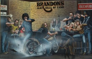 David Mann Art Brandon's Alky Hall of Fame Print Harley Davidson Bar