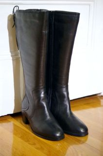 185 Black DAVID TATE Knee High Leather Boots NWOT 6 5 W Wide Calf Wide