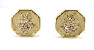 New Slane and Slane 18K Yellow Gold Diamond Bee Earrings Omega Backs $