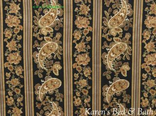 gold sparkle paisley floral stripe print brown black curtain valance