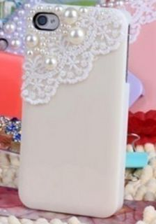 Rice Lace Pearl Hard Case Cover Skin for iPhone 4 4S