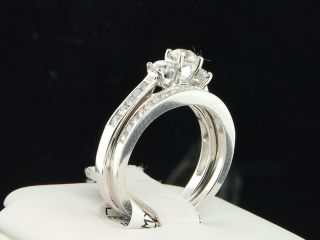 Ladies 14k White Gold 3 Stone Solitaire Diamond Engagement Ring Bridal