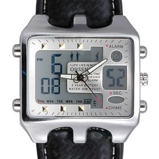 OHSEN Mens Calendar DAY DATE Alarm Stop Watch BLack Leather Sport