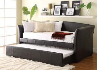 Modern Dark Brown PU Leather Daybed with Trundle