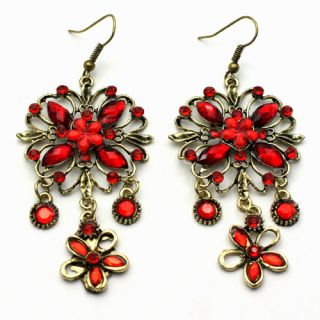 Pretty Rhinestone Crystal Dangle Red Flower Earrings AE0805