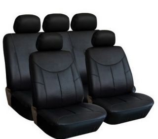 SEMI CUSTOM CAR SEAT COVERS PU LEATHER SOLID BLACK 9PCS FOR 2ROWS W